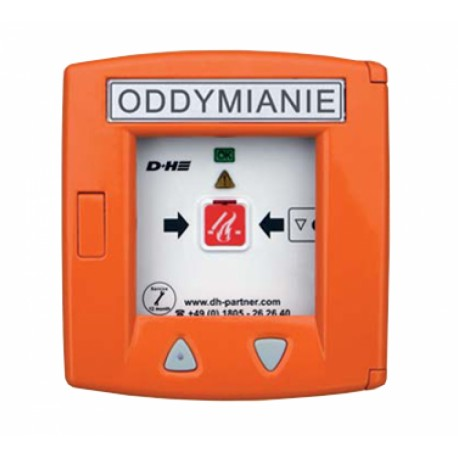 RT 45-LT D+H POLSKA Przycisk oddymiania aluminiowy w kolorze pomarańczowym z przyciskiem do wentylacji